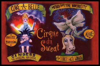 Cirque du Sweat artwork by Kristi Petitpren, postcard design by Scott Wills.